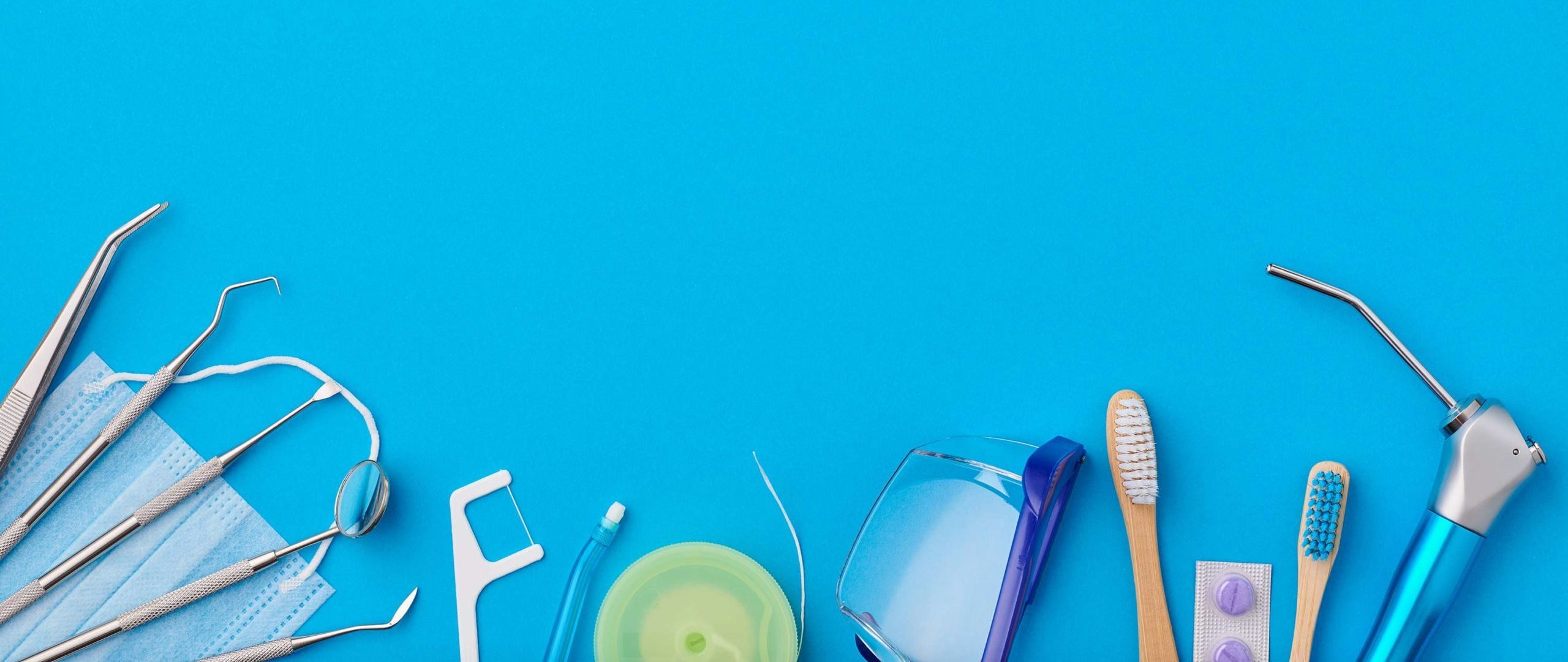 dentist tools - mask, dental floss, tooth brush, pills, drills, mirror